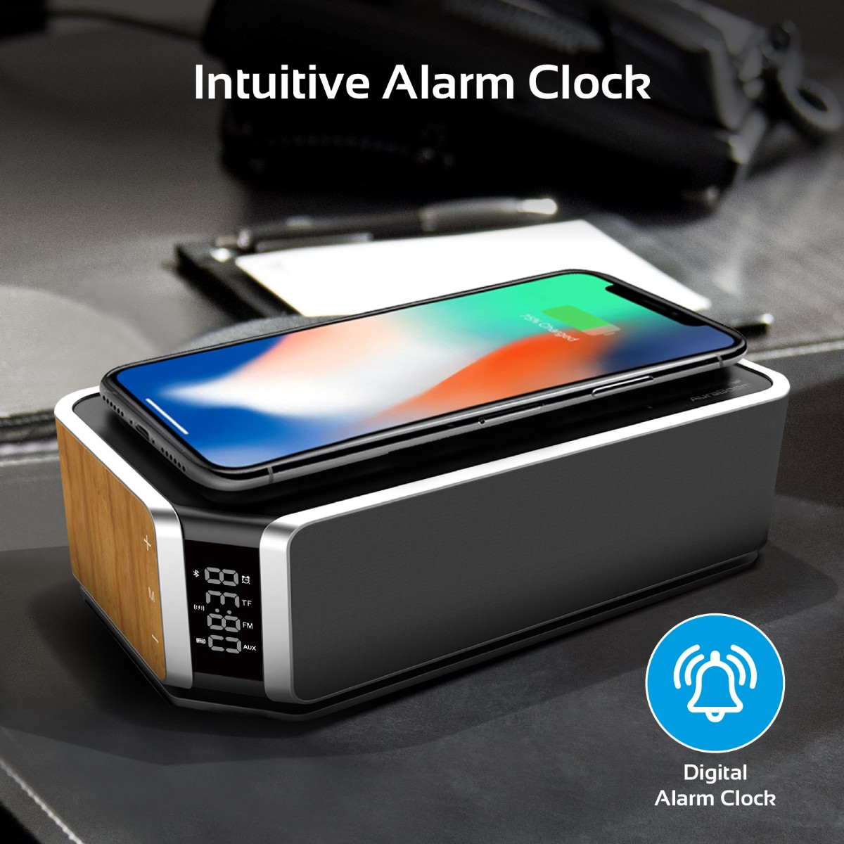 The Auraboom Bluetooth Alarm Clock Speaker Sports An Elegant Brushed Metal Look That Will Fit In Effortlessly With Any Room Or Environment